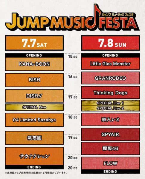 「JUMP MUSIC FESTA(ジャンプミュージックフェスタ)」タイムテーブル