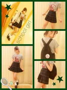川後陽菜の私服、テーマ「school girl」