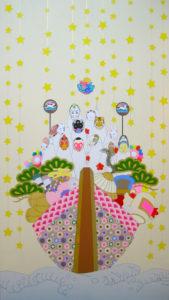 永島千裕の個展『神のまにまに』より「ふたつ、光るは日の入りの御船」