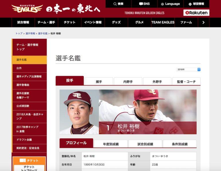 1 松井 裕樹 選手名鑑|東北楽天ゴールデンイーグルス